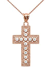 "10 ct Rose Gold Diamond Cross Pendant Necklace (Comes with an 18"" Chain)"