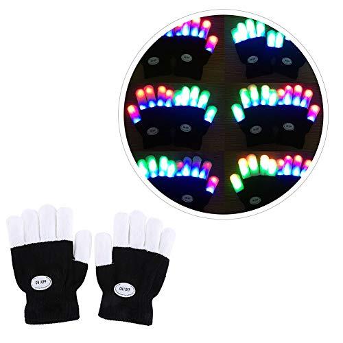 (Urmagic LED Leuchtende Handschuhe blinkende Bunte Finger Gloves Spielzeuge Skeleton Tanzen Regenbogen Kinder Mädchen Junge Fingerhandschuhe Leuchtend Fingerspitzen Weihnacht Geschenke Geburtstag)