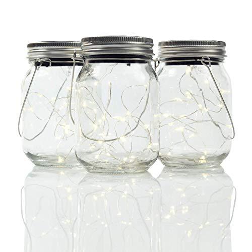 Gadgy ® Lámpara Solar Mason Jar Tarro Cristal Set Luces de Hadas | 3 Pzs USB Recargable | Con Cable USB | 20 LED's Luz Blanca Cálida | Jarra Jardín Exterior Interior Colgar Farol