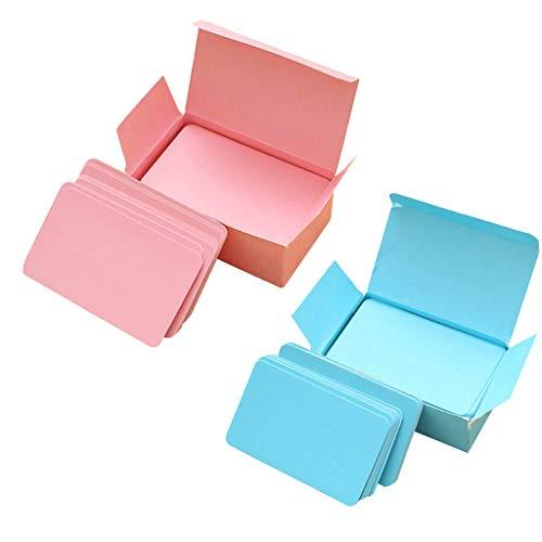 SM SunniMix 2 Boxen 90 Blätter Rosa + 90 Blätter Blau Leere Blanko Papier Karten Lernkarten Karteikarten Study Flash Card (Rosa Stock, Card Papier)