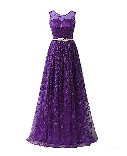 Drasawee Damen Empire Kleid Violett