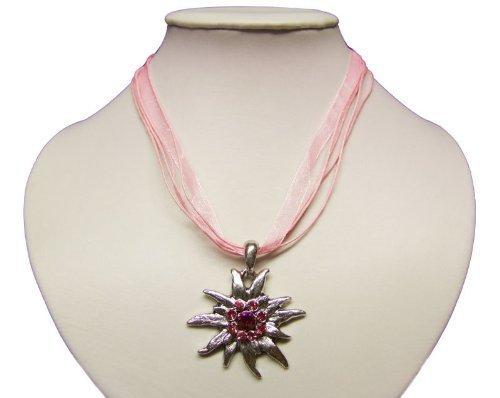 Trachtenkette mit Edelweiss Anhänger in Vielen Farben. Halskette für Dirndl und Lederhose (Rosa)