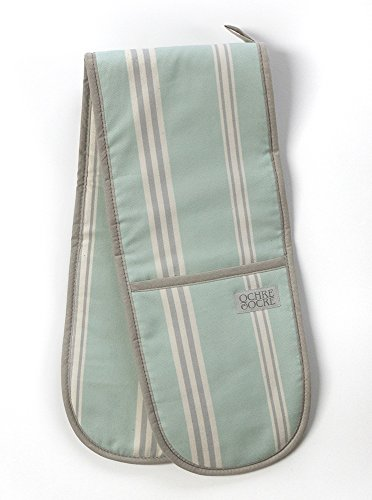 Double Oven Gloves - Organic Cotton - Eastnor (Sage Stripe)