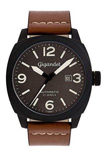 Gigandet G9–005–Montre pour hommes, bracelet en cuir couleur marron