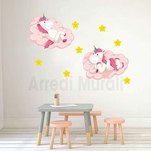 Adesivi murali camerette bimbi 2 unicorni e 7 stelline wall stickers camerette decorazioni murali per arredare e decorare le camerette