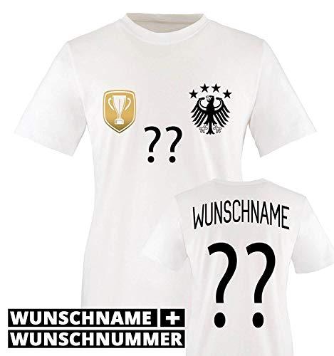 Trikot - Deluxe 2016 - DE - WUNSCHDRUCK - Kinder T-Shirt - Weiss/Schwarz-Gold Gr. 86-92 -