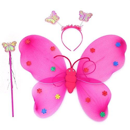 Xshuai 3pcs / Set Mädchen geführtes blinkendes helles weiches Tullegewebe Feenhaftes Schmetterlings-Flügelstab-Stirnband-Kostüm-Geschenk-Spielzeug (Blau / Rosenrot / Lila / Rosa / Gelb) (Rosenrot)