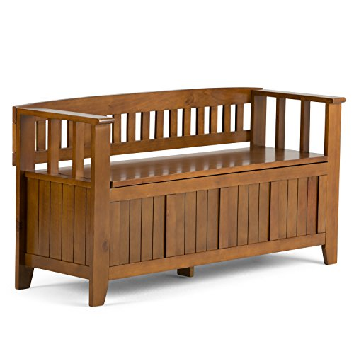 Braun Storage Bench (Simpli Home INT-AXCACA-EB-ALB Acadian Entryway Storage Bench, Holz, hell avalon braun, 121.92 x 43.18 x 64.77 cm)