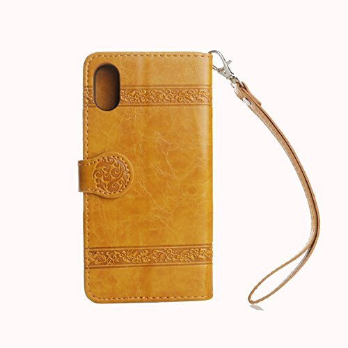 Protective Case Cover for iPhone X,iPhone X Coque PU Leather,iPhone X Neo Case,Hpory élégant Retro PU Cuir Cover Case Book Style Folio Flip Up Stand Fonction Support PU Leather Walllet Case with Credi 8#