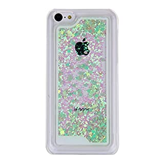 AcenX(TM) 3D Creative Design Flowing Floating Liquid Small Love Hearts Bling Glitter Sparkly Stars Quicksand Hard Transparent Clear Crystal Back Skin Case Cover for Apple iPhone 5C (Green)