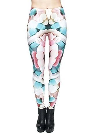 TRVPPY Legging de sport/fitness avec imprimé tendance, nombreux modèles disponibles - multicolore - taille unique