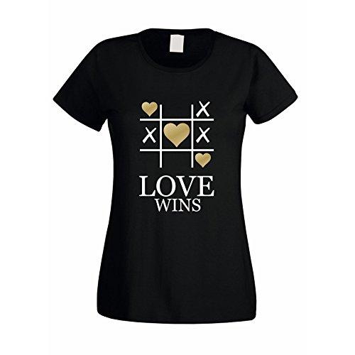 Damen T-Shirt -- LOVE WINS Schwarz-Fuchsia