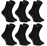 Rainbow Socks - Hombre Mujer Calcetines Colores de Algodón - 6 Pares - Negro - Talla UE 44-46