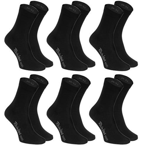 6 pares de Calcetines de algodón, negro, producidos en UE, algodón, muchas tallas 42 43, la más alta calidad, mujeres y hombres por Rainbow Socks