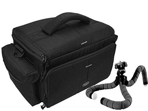 Profi Foto Tasche Typ Action Black für 2 Gehäuse und Zubehör im Set mit Reise Stativ Superflex Pod für Nikon D7200 D500 D610 D5500 D5300 D5100 D3300 Canon EOS 1300D 760D 800D 700D 80D