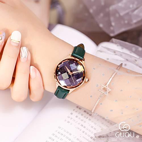 HWCOO Schöne Coole Uhr GUOU2018 sternenklares Gesicht geschnittene weibliche Quarzuhr der Frauenuhr (Color : 4)