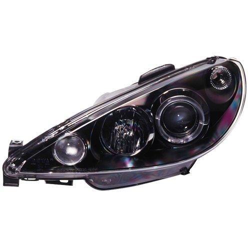 AutoStyle SK3300-A2B698-JM - Faro anabbagliante anteriore, nero, per Peugeot 206 99-02, con anelli per luce di posizione, escluso