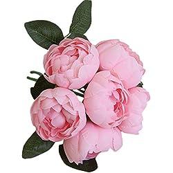 WULIHONG-Flor Artificial Cabeza de Flor de peonía Flor Artificial de la Boda decoración de la Boda DIY Guirnalda Artesanía Flor Color al Azar