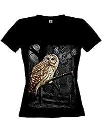 Ethno Designs Owl Wilderness - Hibou Streetwear T-shirt pour Femmes - Motif d'animal Shirt oiseaux sauvages