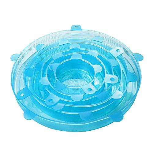 REDAPP Küche Silikonfolie, 6Pcs dehnbar Lebensmittelkonservierungsdeckel Vakuumfolie elastische Lebensmittelfolie kältebeständig hitzebeständige Verpackungsfolie kann wiederverwendet Werden Blau
