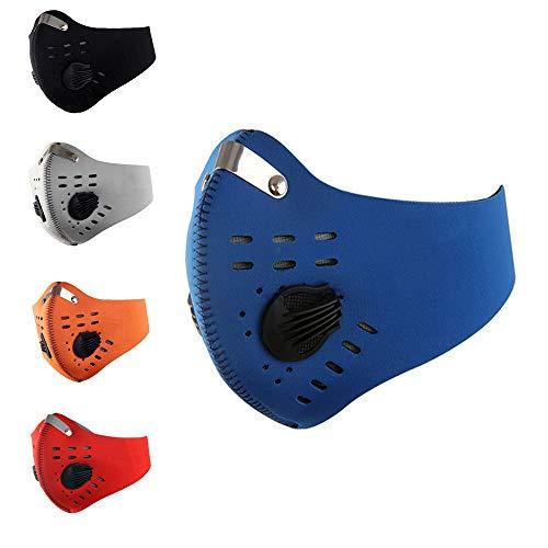 Runaup Staubdichte Masken, Aktivkohle-Staubmaske mit extra Filter, Baumwoll-Blatt, Anti-Verschmutzung, PM 2.5, hergestellt für Männer und Frauen im Freien, blau -
