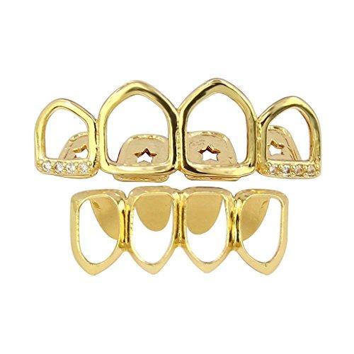 Zähne Kostüm Reißzähne - milageto 18 Karat Gold Überzogene Grills 4 Reißzähne Oben Unten Set Offenes Gesicht Fang Zähne Grill Joker Rock Kostüm Schmuck - Gold