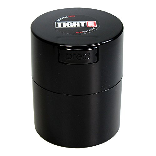 Tightvac 3-Ounce Vacuum Sealed Dry Goods Storage Container, Black Body/Cap -