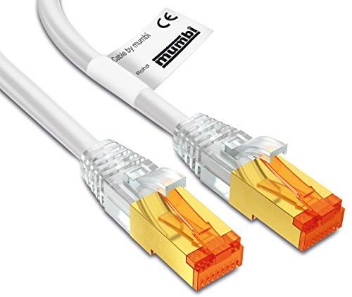 mumbi 20m CAT.7 Ethernet Lan Netzwerkkabel - CAT.7 S/FTP (RJ45) 20 Meter Kabel in weiss