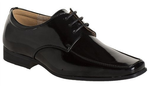Paisley of London , Jungen Schnürhalbschuhe Schwarz Patent Black, Schwarz - Patent Black - Größe: Youth 3 Youth Black Patent Schuhe