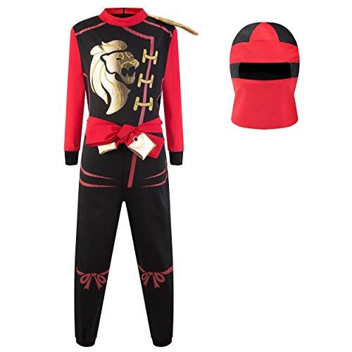 Katara 1771 - Ninja Kostüm Anzug – Kinder Jungen-Verkleidung zum Fasching, Karneval – Kids Kampf-Onesie Overall Outfit für Jungs und Echte Krieger, Rot, Größe S (104/110/116), Rot-Schwarz
