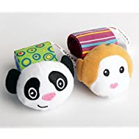 HLC Soft Panda and Monkey Wrist-strap Rattle Set