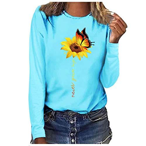 LILIGOD Damenmode Langarm Bluse O-Ausschnitt Langarmshirts Lässige Rundhals T-Shirt Plus Size Print Bluse Tops Einfarbig Wild Sweatshirt Pullover Herbst Langarm Poloshirts Tuniken -