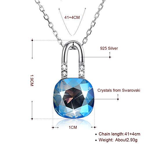 Bxx crystal from swarovski elements collana con ciondolo in cristallo con chiusura in argento sterling,b,taglia unica