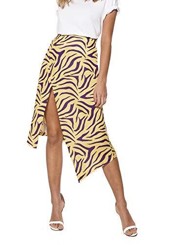 High-slit Skirt (IVYREVEL Damen High Slit Skirt Rock, Mehrfarbig (Purple/Yellow 349), Herstellergröße:38)