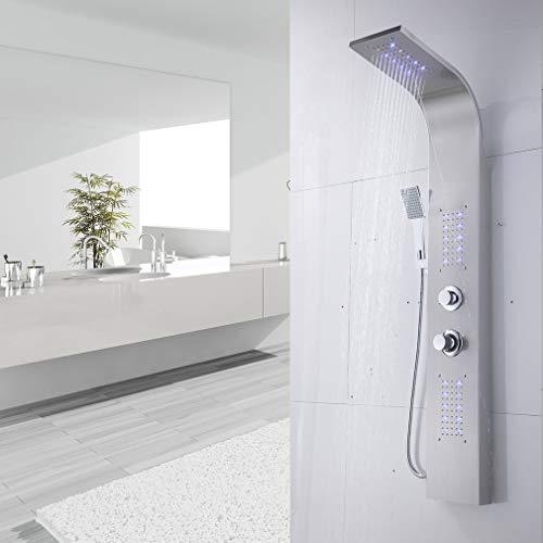 GreatWall Edelstahl Duschpaneel LED mit Handbrause Thermostat Wasserfall Duschsäule Duschset Regendusche Duscharmatur, 140 x 44 x 25 cm, Silber