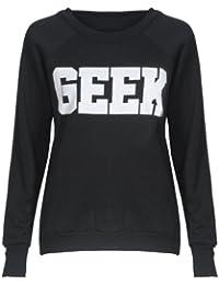 Mix lot nouveau dames néon connaisseur geek impression sweat-shirt gilet sans manche top femmes d'été de gilet taille (36-38, Sweatshirt noire)