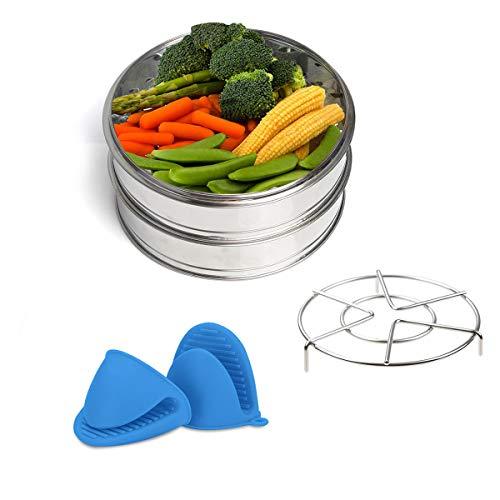Dampfeinsätzen – Vindar 2 Etagen Dampfgarer-Set, Dampfeinsatz Pfannen, Instant Pot Zubehör, 20,5cm, Edelstahl, Fit für 6/8QT Schnellkochtopf (3 Stück)