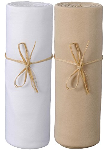 P \'tit Basile–2Spannbetttücher Baby Größe und verschiedene Farben. Jersey Bio-Baumwolle. Ausziehbar mit elastisch Rundum, hochwertige gekämmte Baumwolle