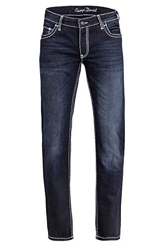 Camp David Herren Jeans Straight Leg NEW CONNOR, Farbe: Dunkelblau, Größe: 40/34