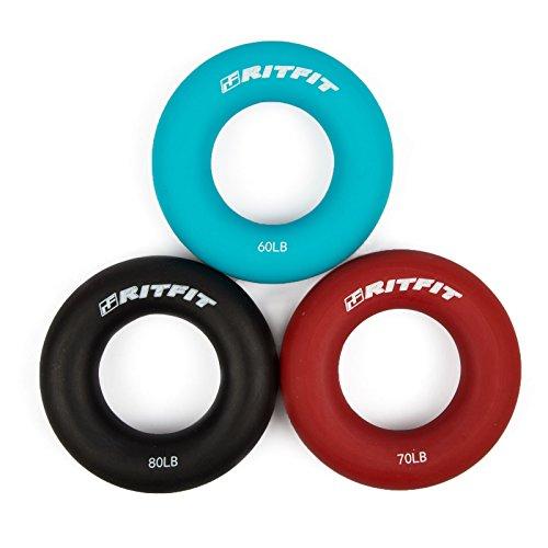 Ritfit 3-in-1 Hand Strengthener grip Rings 3 livello rinforzante Exercisers - aumentare rapidamente la mano, dita, polso e avambraccio -60-80 Lbs