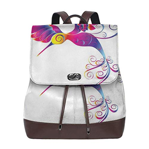 Women's Leather Backpack,Colorful Feather Hummingbird Curvy Tail Ornament Stylized Artistic Design,School Travel Girls Ladies Rucksack Hummingbird Fish
