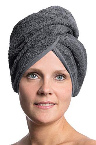 ZOLLNER Haarturban aus Baumwolle, grau (weitere verfügbar), Knopfverschluss