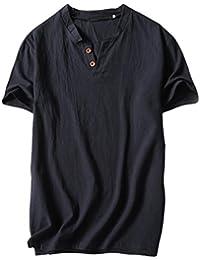 UJUNAOR Männer Sommer Lässiges Hemd aus Leinen und Baumwolle Kurzarm  T-Shirt mit V- 153294567f