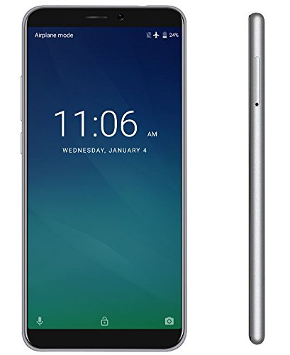 KEECOO P11 - 5,7 Zoll HD (18: 9-Verhältnis Vollanzeige) Android 7.0 4G Smartphone, Gesichtserkennung, Quad-Core 2 GB + 16 GB, 7,8 mm Ultra Slim 5MP + 8MP - Silber Entsperren Bei&t-handys