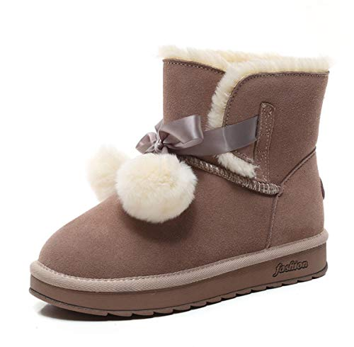 DANDANJIE Womens Snow Boots Pompom Classic Mid-Calf Boot Girls Flat Fel Slitryslip Shoes Ladies Winter Warm Ankle Boots,Brown,38EU Classic Mid-boot
