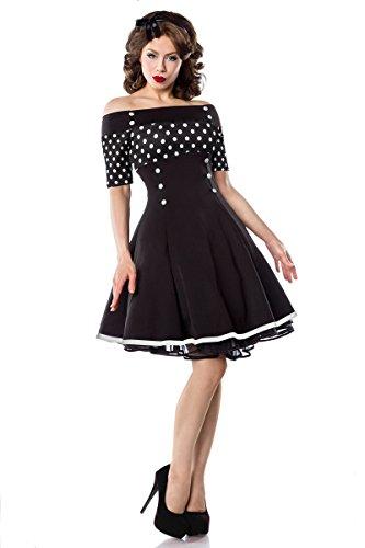 Belsira Vintage-Kleid - schwarz/weiss/dots, Größe:L