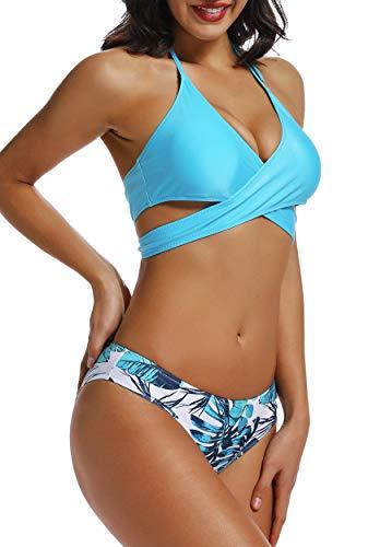 INSTINNCT Costumi da Bagno Donna Brasiliano Due Pezzi Bikini Bendaggio  incrociato Push Up Capestro Bendare Foglie 58caa35527d5