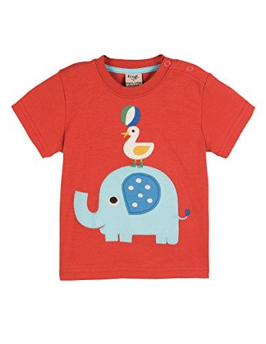 Frugi Baby-& Kleinkind-T-Shirt, weiche Bio-Baumwolle, GOTS, Fair Trade, Verschiedene Designs (92/98, Elefant rot) -