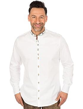 orbis Textil Trachtenhemd Slim Fit Stehkragen Weiss