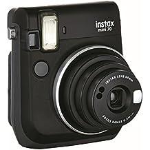 Fujifilm Instax Mini 70 - Cámara analógica instantánea (ISO 800, 0.37x, 60 mm, 1:12.7, flash automático, modo autorretrato, exposición automática, temporizador, modo macro), negro medianoche